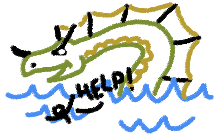 Lifeguard river krait, preparing to give mouth-to-mouth.